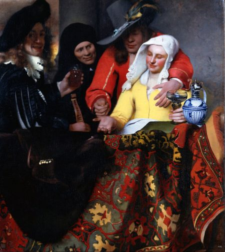 procuress offering a female prostitute to man