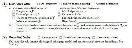 restraining order form