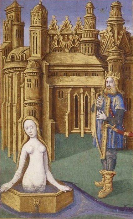 Bathsheba bathing, with David onlooking yearningly