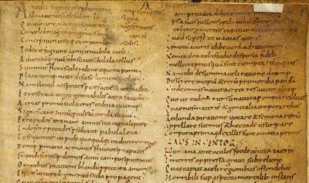 ninth-century manuscript page of Lucretius, De rerum natura