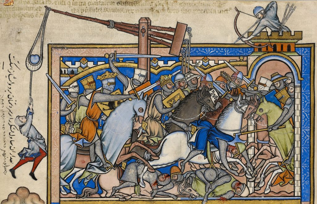 men dying in crusades battle