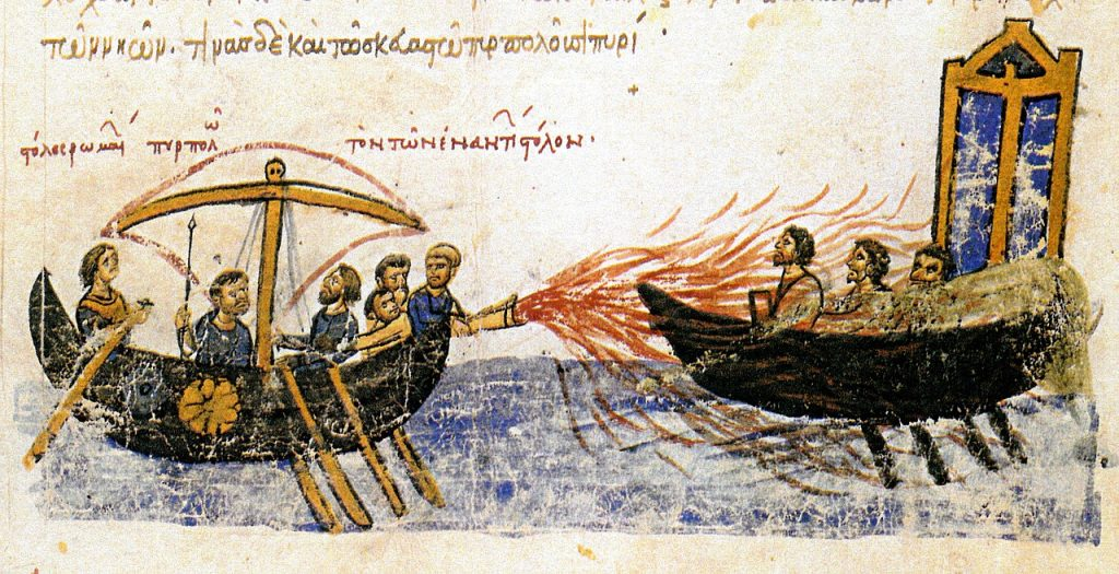 Byzantine Greek fire, a naval weapon