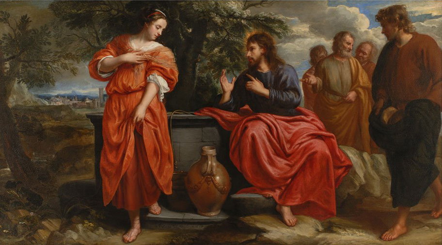 Jesus talking with Samaritan woman at well