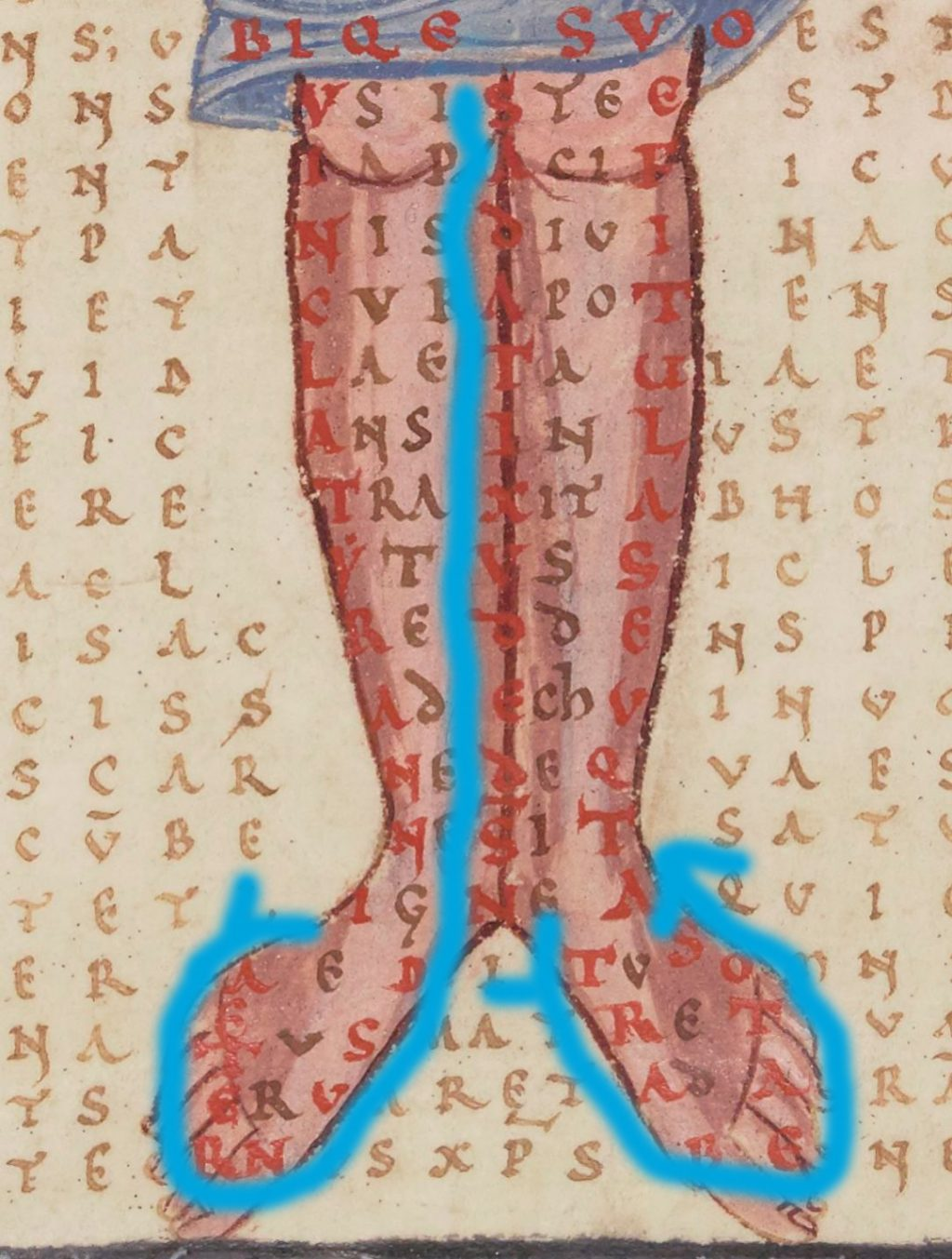 tracing Christ's genitals pointing to heaven