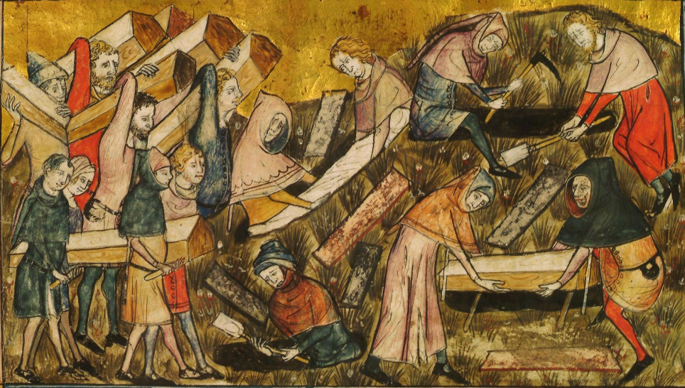 burying plague dead in Tournai about 1353