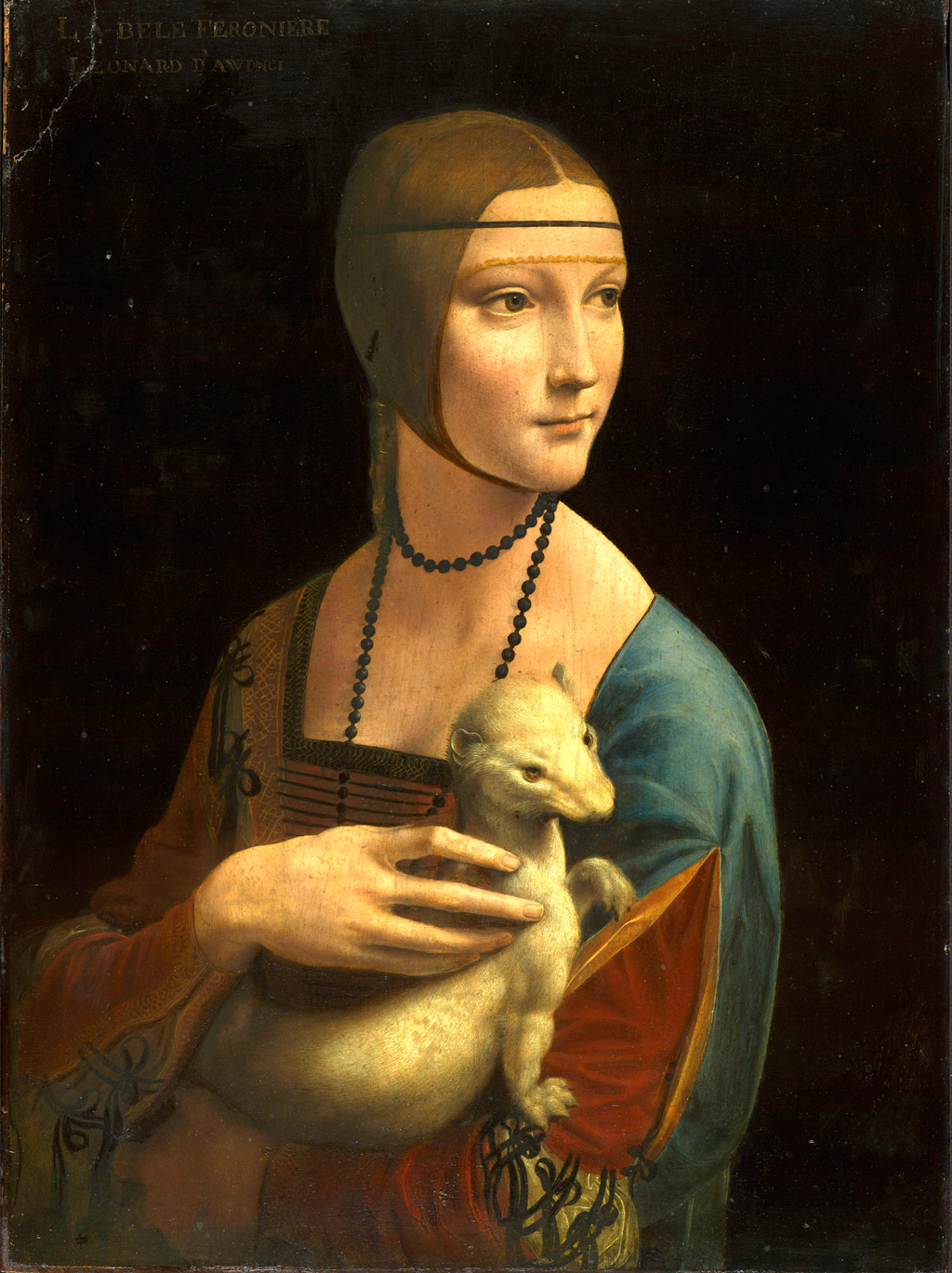 young woman holding ermine