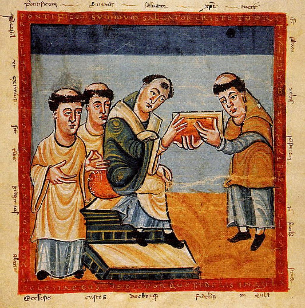 Pope Gregory IV receives book from Hrabanus Maurus