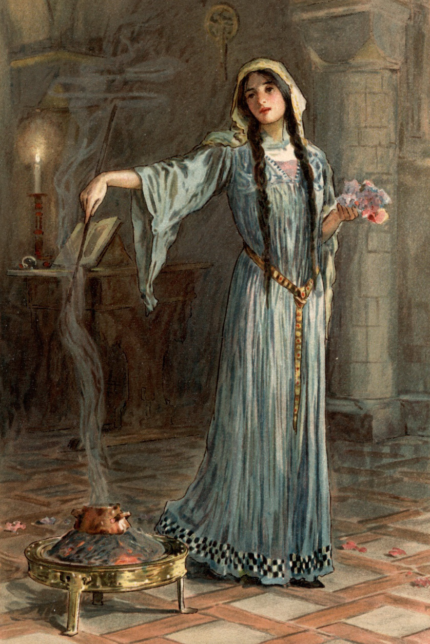Morgan le Fay practicing evil magic