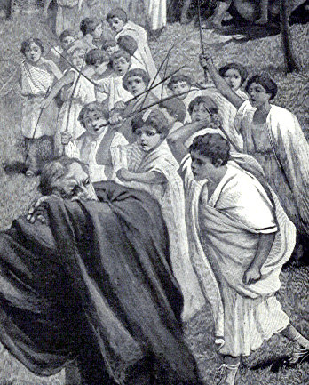 ancient Roman students beating their teacher