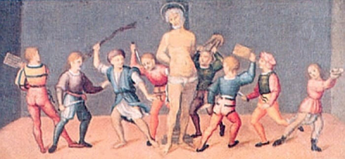 students killing Saint Cassian of Imola