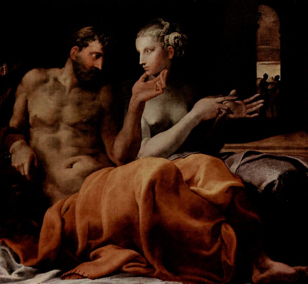 Odysseus and Penelope in bed