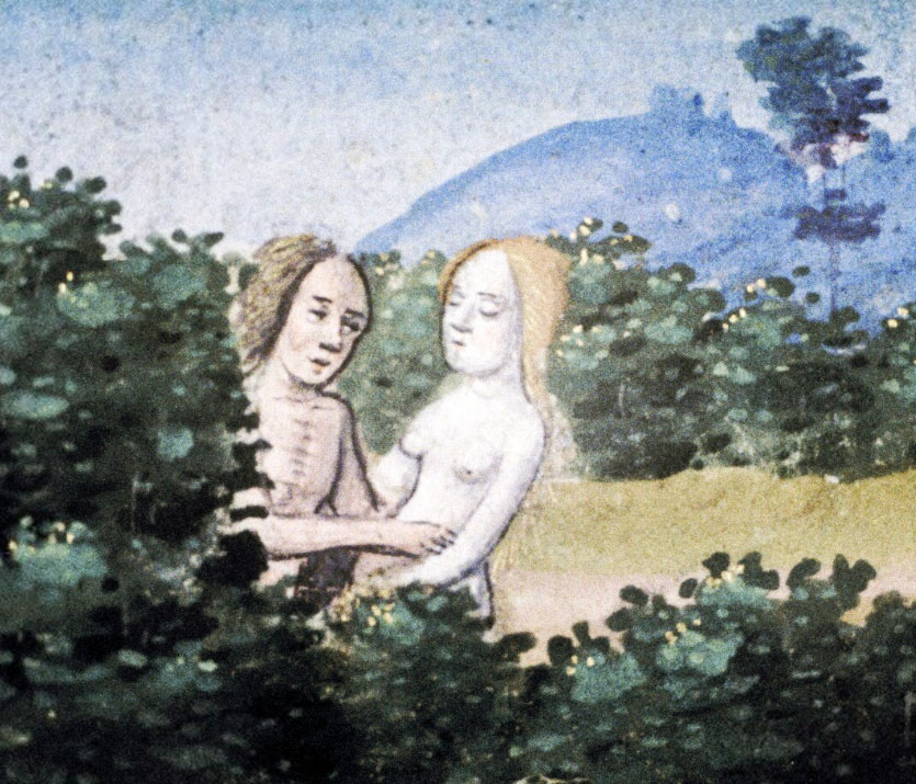 naked couple in medieval garden