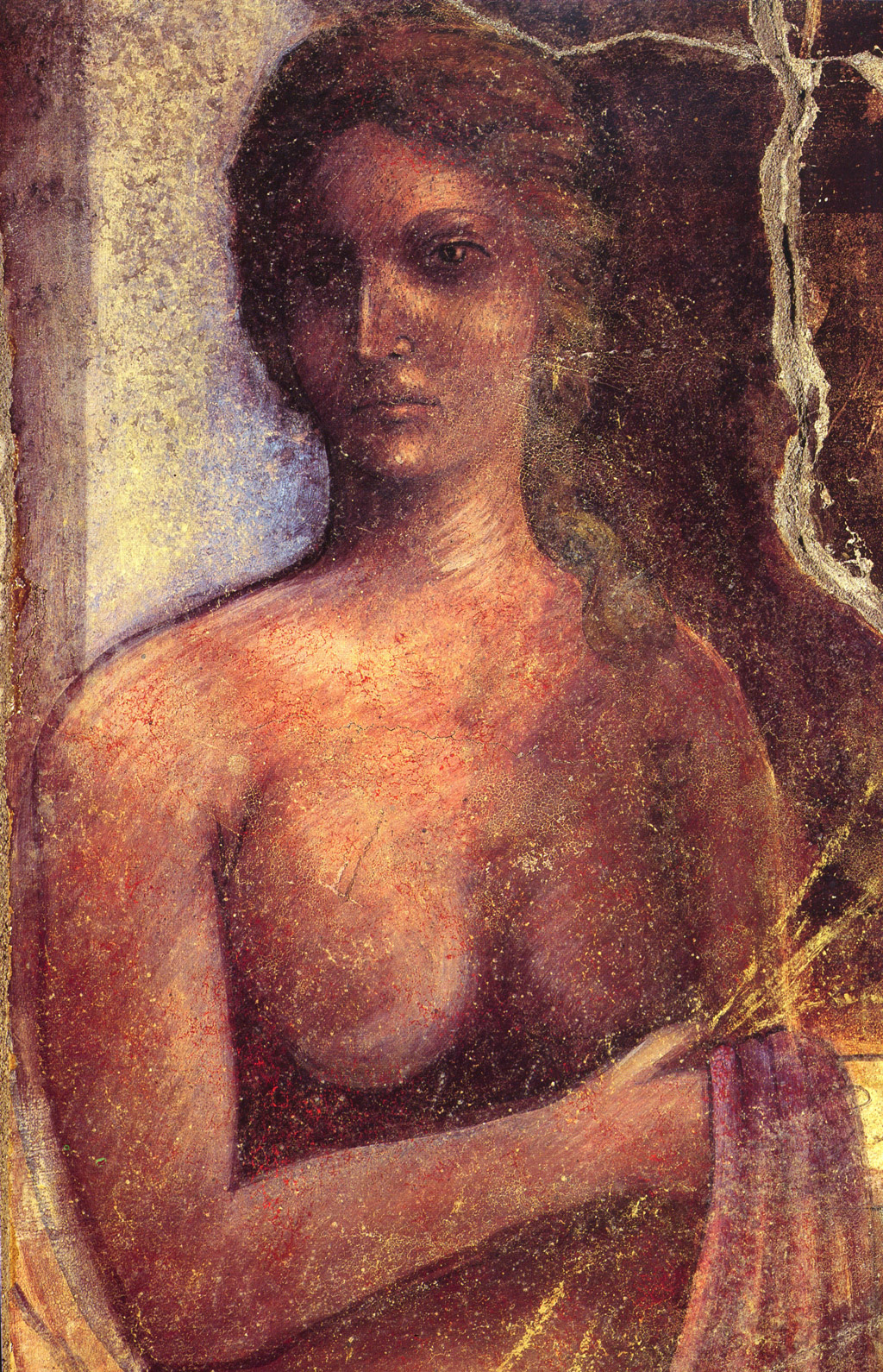 nude woman (maenad) in fresco in ancient Pompeii