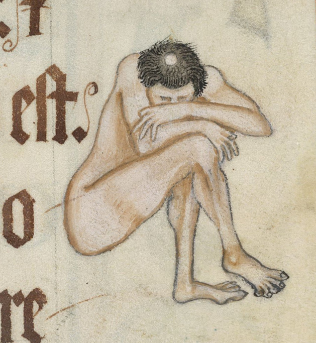 naked, unhappy monk