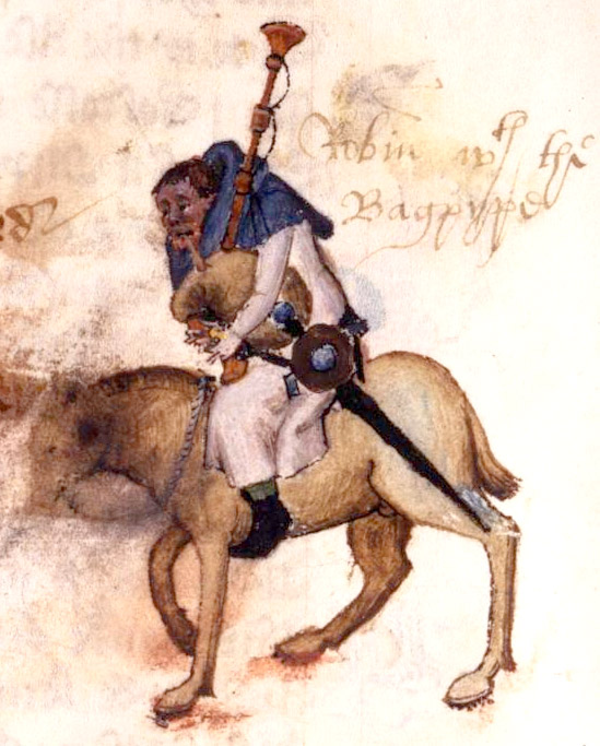 Chaucer, Robin the Miller playing bagpipes