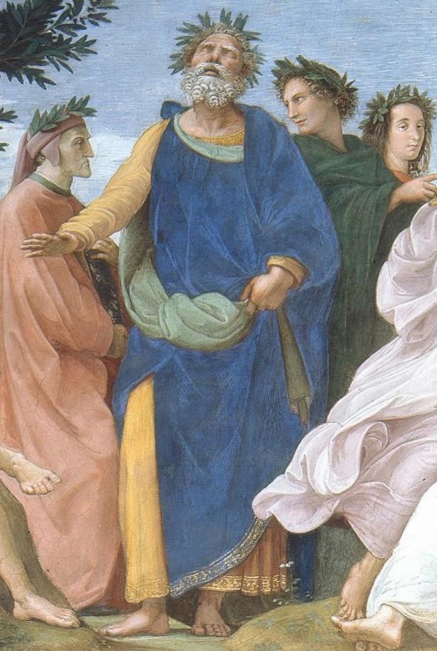 Homer protecting groin in Raphael's Parnassus fresco
