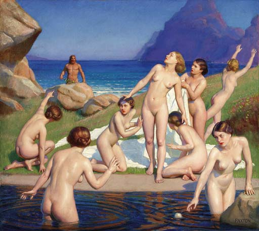 Odysseus sees naked Nausicaa with other naked women
