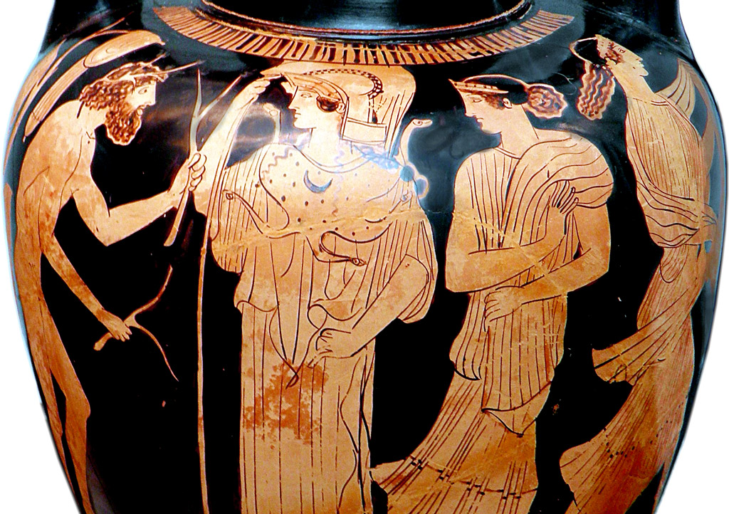 Nausicaa faces Odysseus on ancient Greek vase