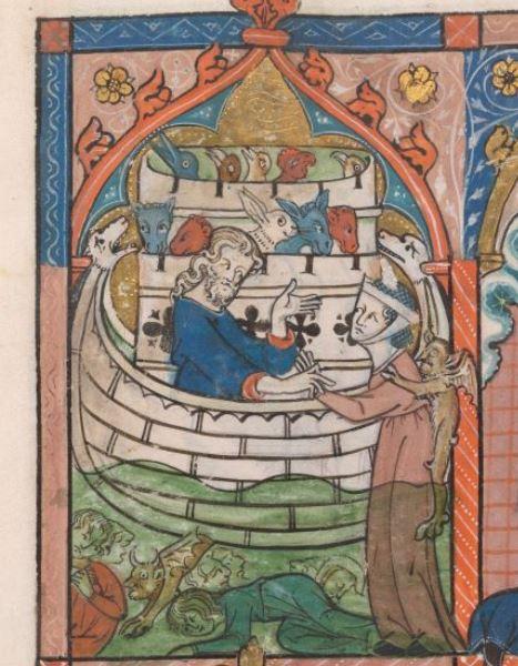 Noah's wife resisting boarding ark