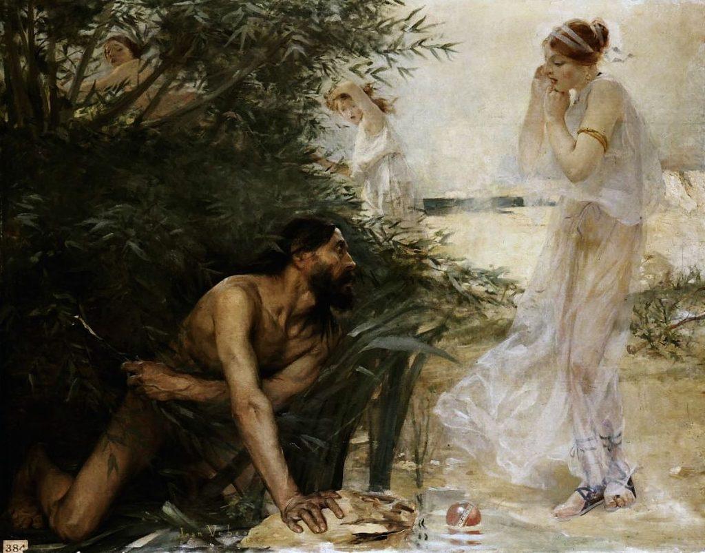 shipwrecked Odysseus meets Nauticaa