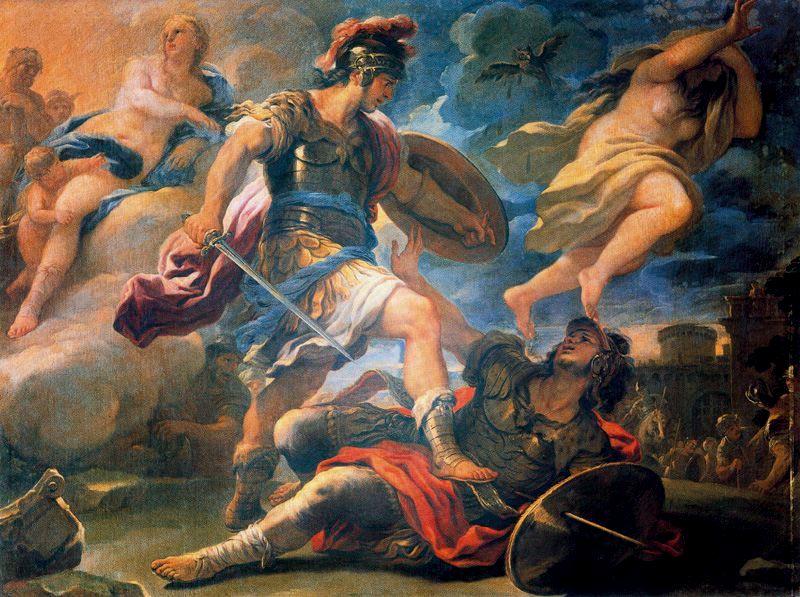 Aeneas killing Turnus