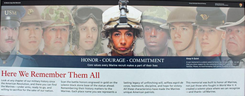 Iwo Jima Marine Corps Memorial info panel: remembering Marines