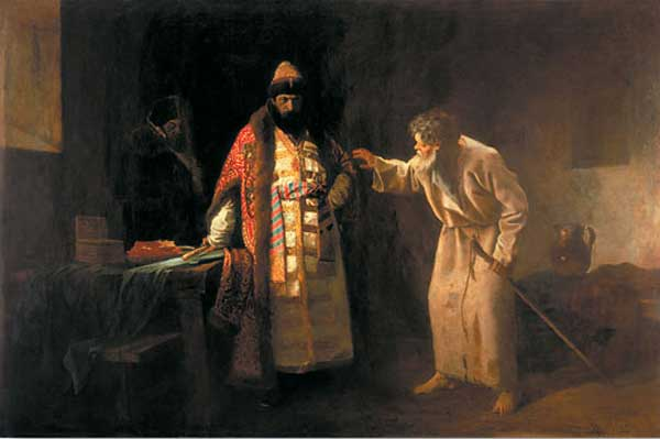 holy fool Nikolay Salos castigating Ivan IV