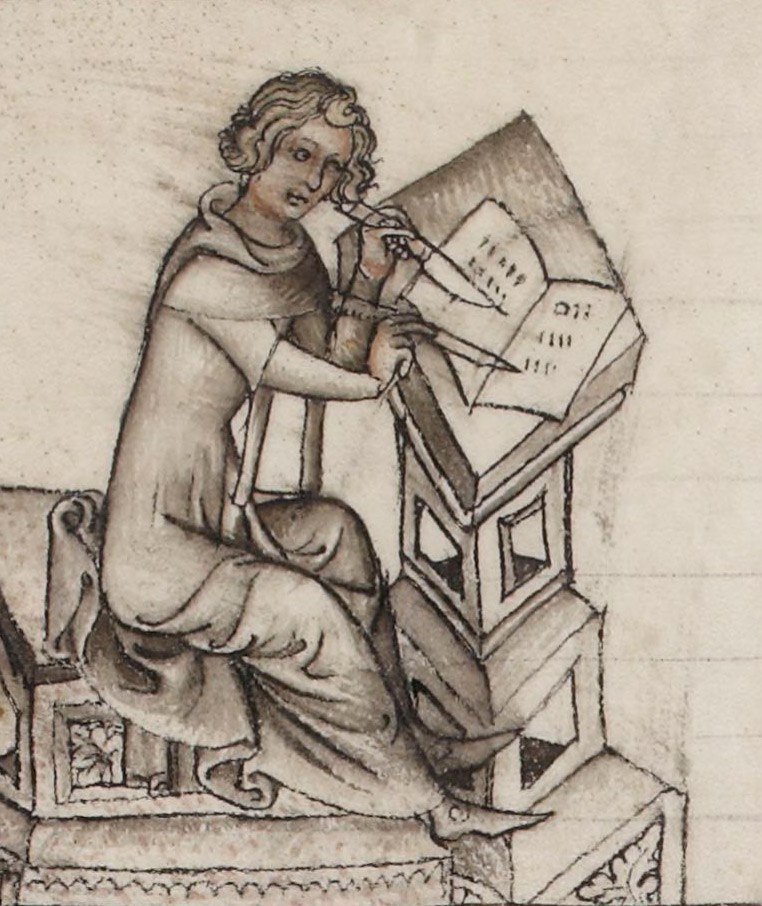 medieval author Machaut writing