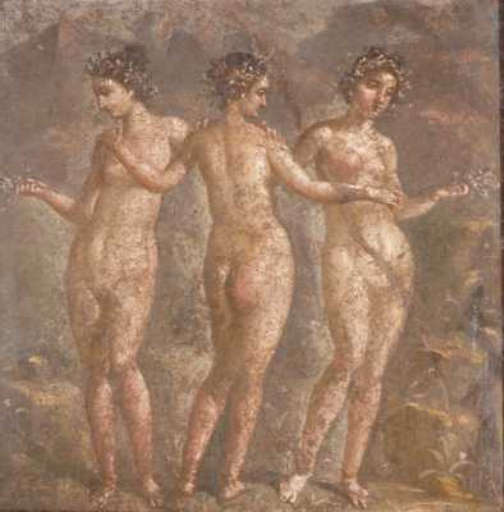 three graces fresco buried in ancient Pompeii
