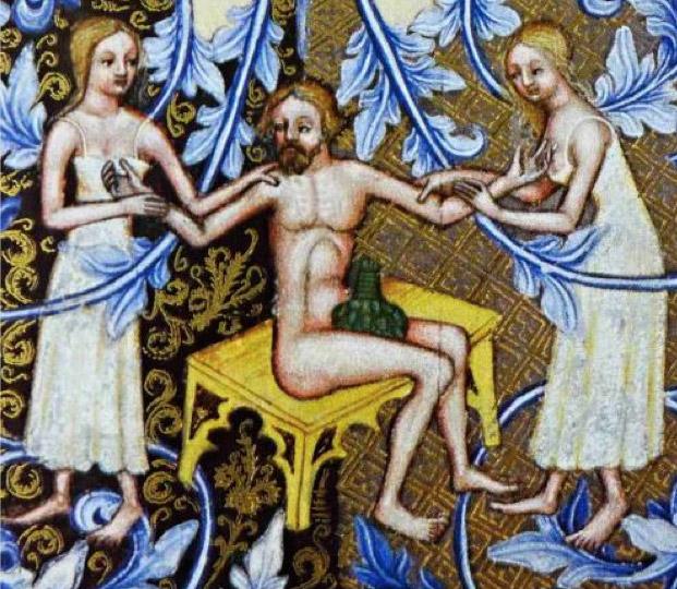 bathhouse women serving man in Wenceslas Bible