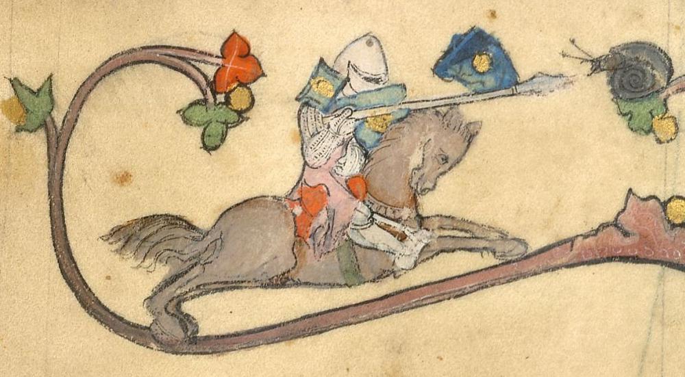 medieval knight on horseback attacks snail