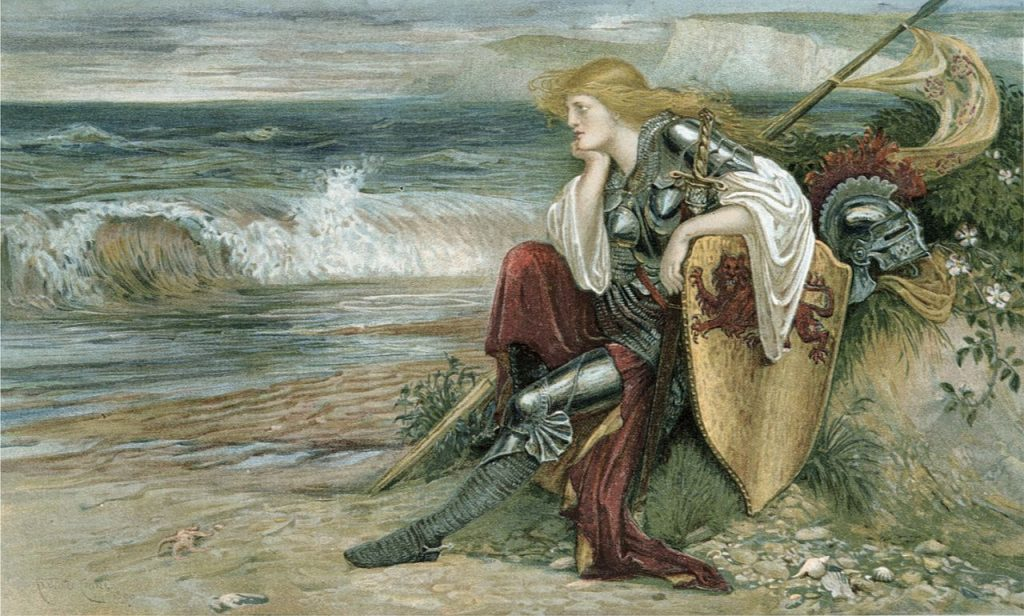 medieval woman warrior sits on seashore