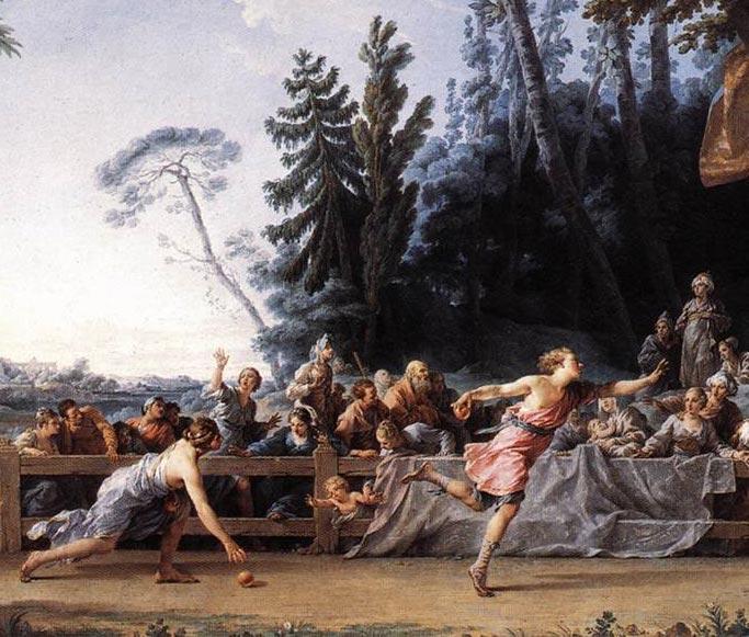 Atalanta running race picking up apples