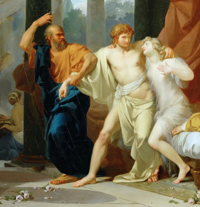 Socrates tears Alcibiades from woman's bed