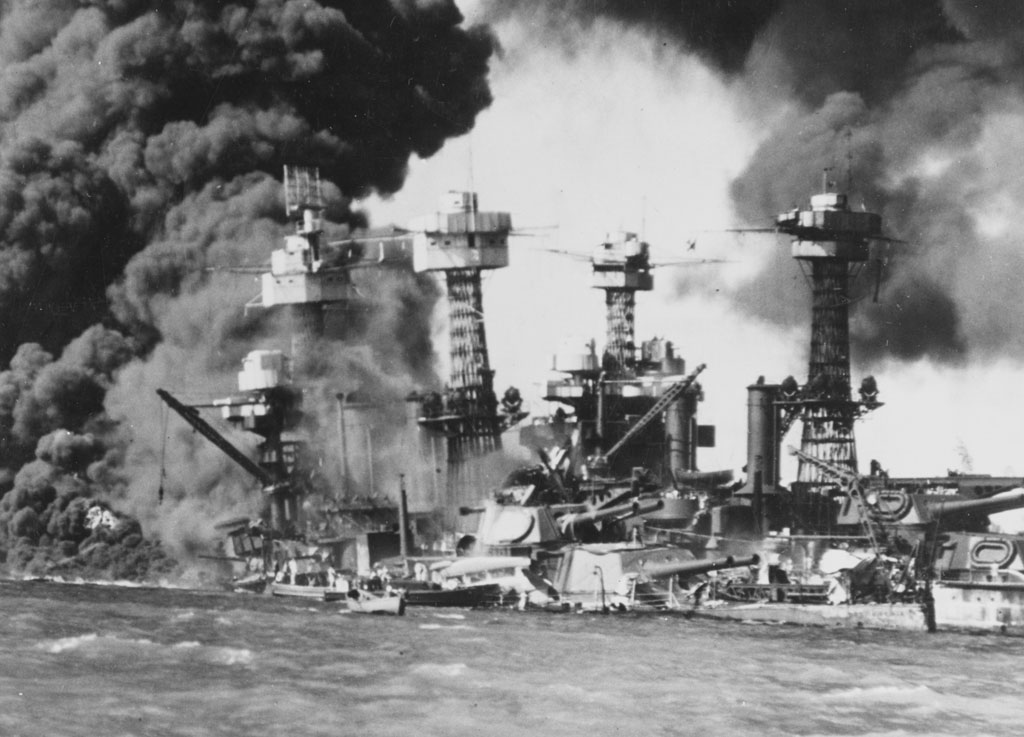 ships burning after attack at Pearl Harbor
