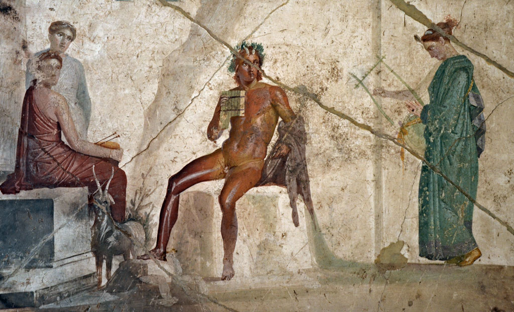 god Pan playing flute at Pompeii