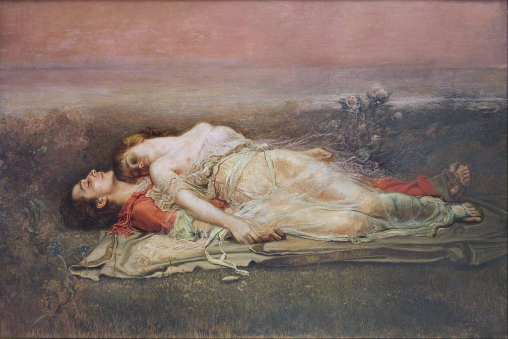 Iseut and Tristan lying dead