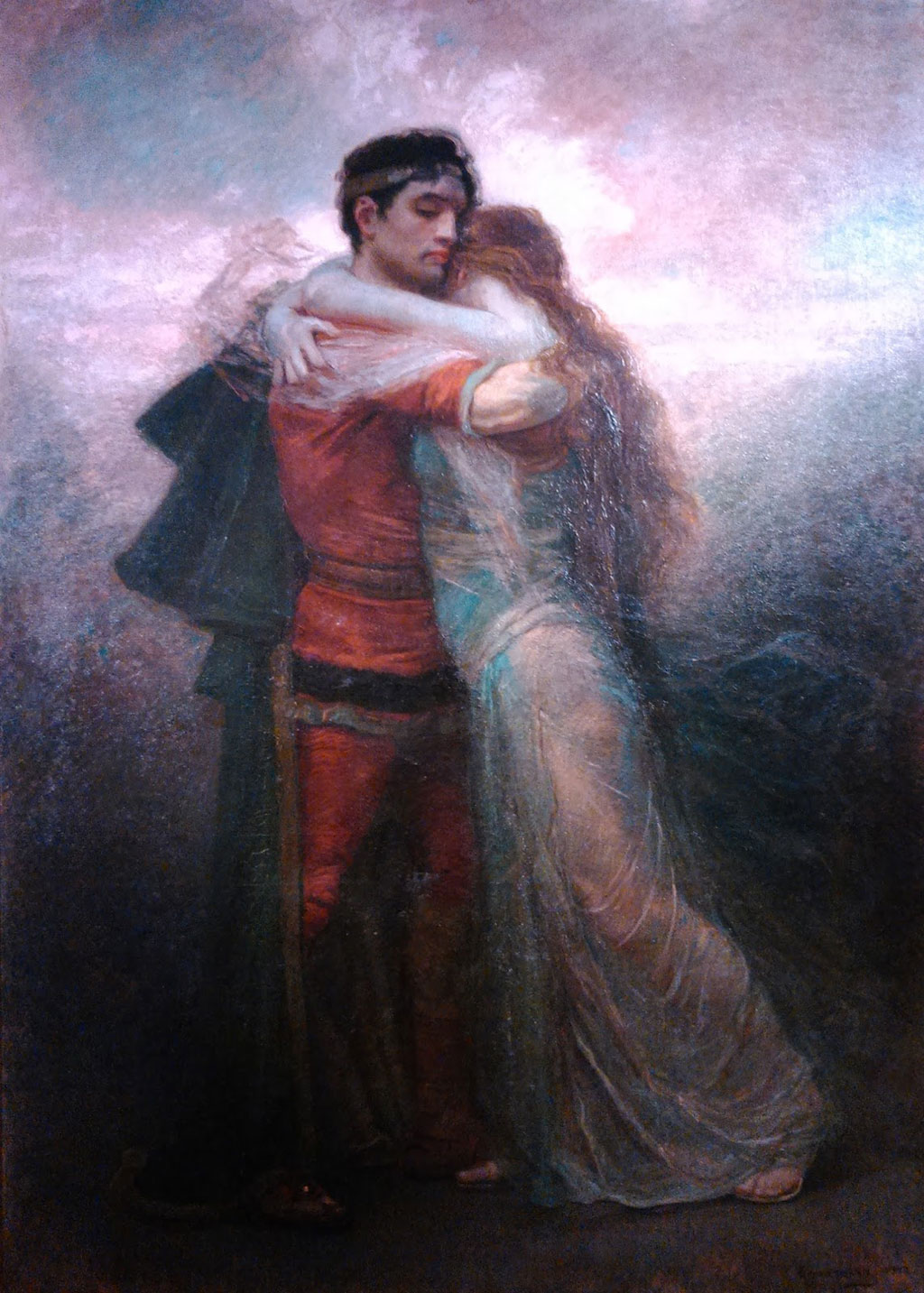 Tristan and Iseut embracing