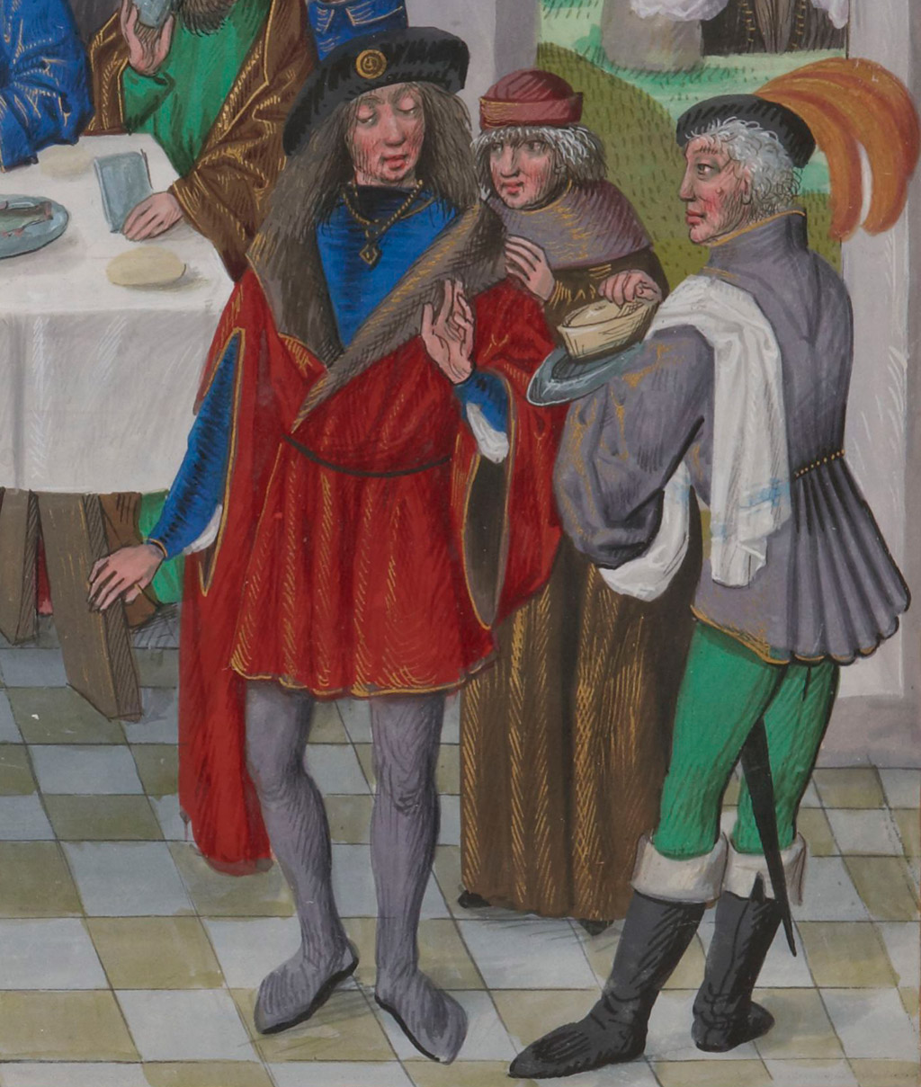 well-dressed medieval men looking disdainfully at Mary anointing Jesus's feet