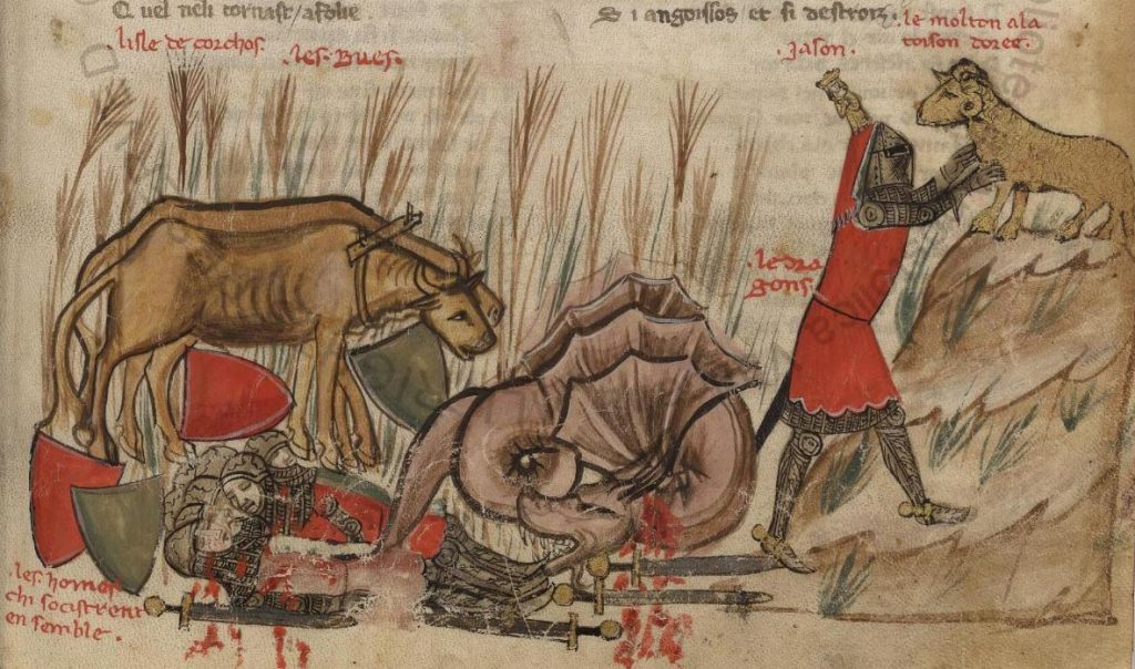 Jason gets the Golden Fleece in the Roman de Troie